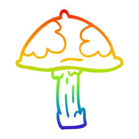 rainbow gradient line drawing of a cartoon wild mushroom