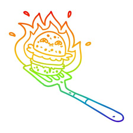 rainbow gradient line drawing of a cartoon burger cooking