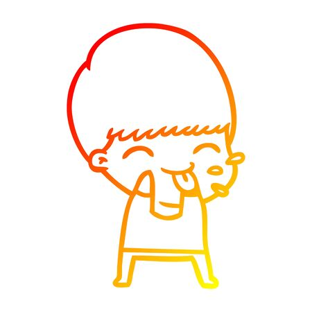 warm gradient line drawing of a cartoon boy blowing raspberry Illustration
