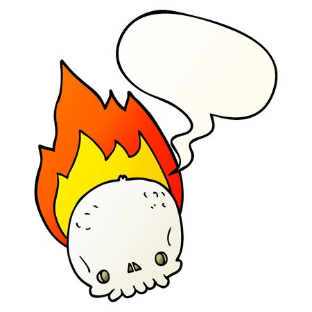 spooky cartoon flaming skull with speech bubble in smooth gradient style