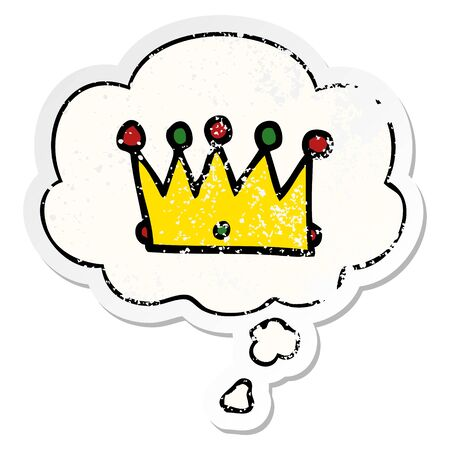cartoon crown with thought bubble as a distressed worn sticker