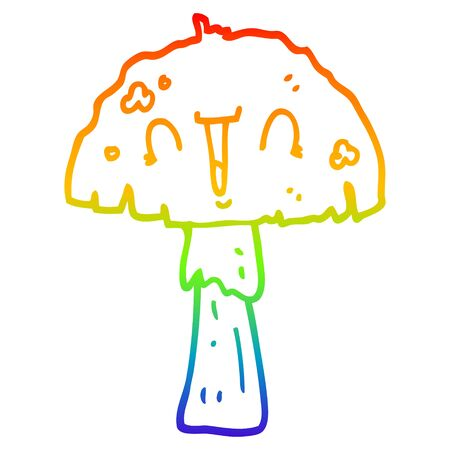 rainbow gradient line drawing of a cartoon mushroom