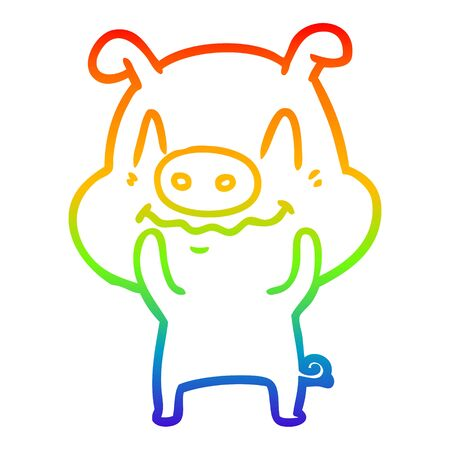 rainbow gradient line drawing of a nervous cartoon pig