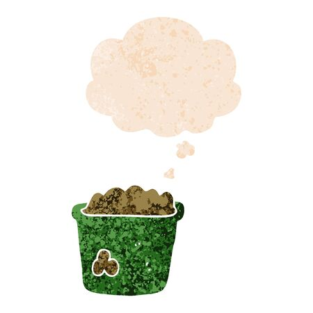 cartoon pot of earth with thought bubble in grunge distressed retro textured style