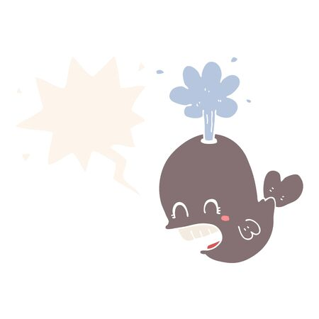 cartoon spouting whale with speech bubble in retro style Illustration