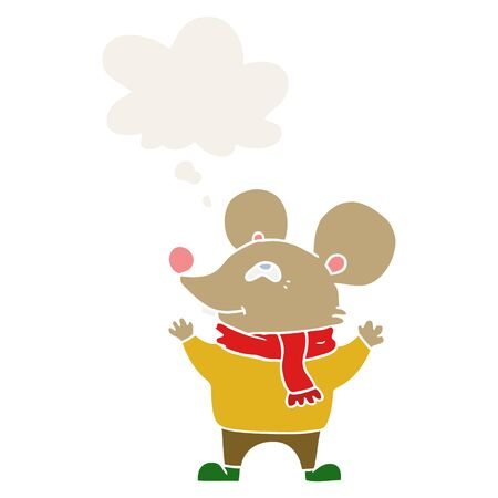 cartoon mouse wearing scarf with thought bubble in retro style