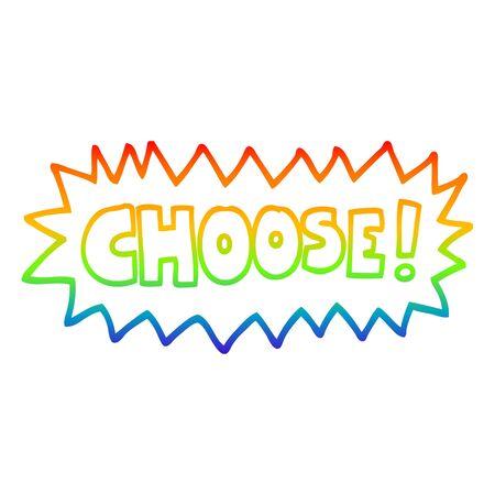 disegno a tratteggio sfumato arcobaleno di un cartone animato scegli il simbolo Vettoriali
