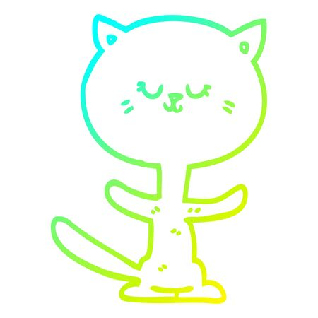 cold gradient line drawing of a cartoon dancing cat