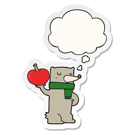 cartoon bear with apple with thought bubble as a printed sticker Ilustração