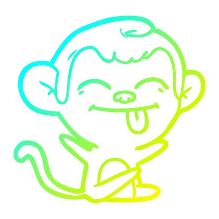 cold gradient line drawing of a funny cartoon monkey 向量圖像