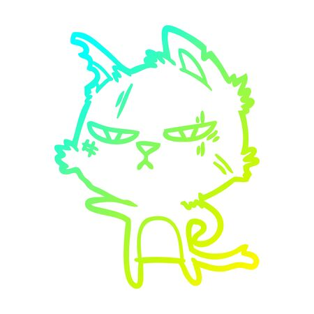 cold gradient line drawing of a tough cartoon cat pointing  イラスト・ベクター素材