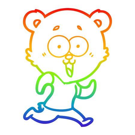rainbow gradient line drawing of a laughing teddy  bear cartoon