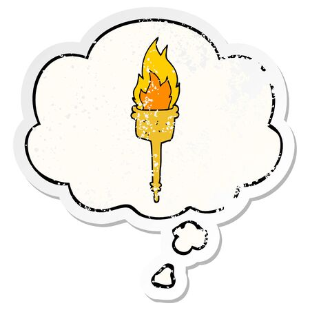 cartoon flaming torch with thought bubble as a distressed worn sticker