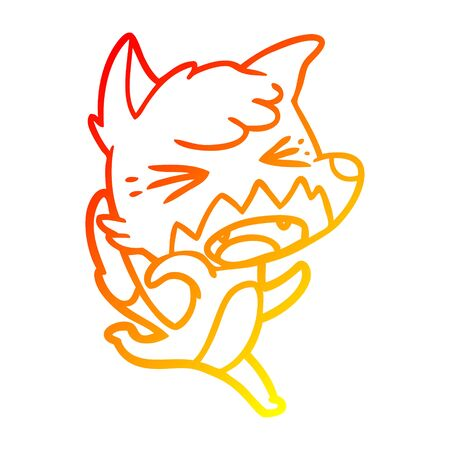 warm gradient line drawing of a angry cartoon fox running Stockfoto - 129371138