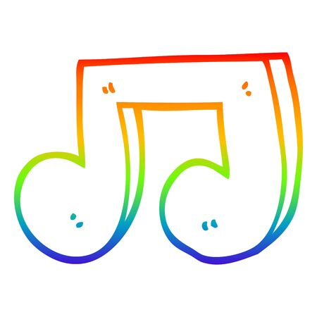 rainbow gradient line drawing of a cartoon musical notes