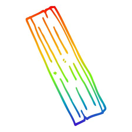rainbow gradient line drawing of a cartoon plank of wood Ilustracja