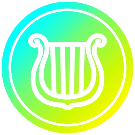 musical instrument harp circular icon with cool gradient finish