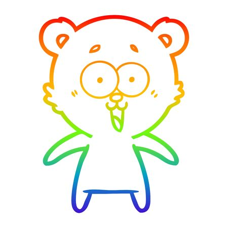 rainbow gradient line drawing of a laughing teddy  bear cartoon