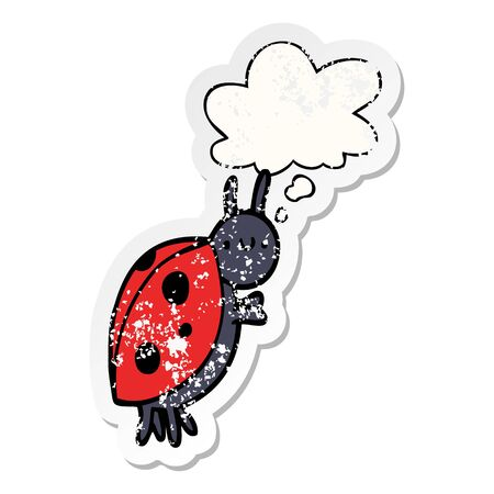 cartoon ladybug with thought bubble as a distressed worn sticker Ilustracja