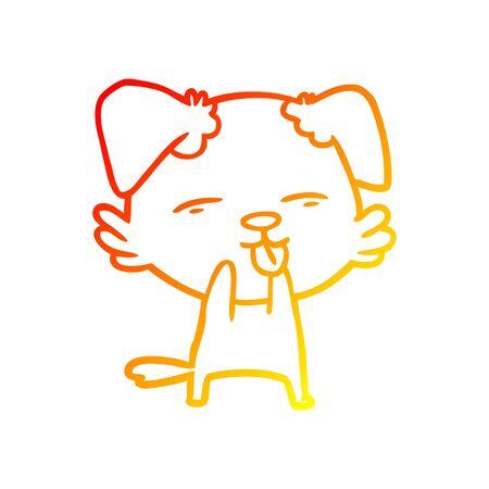 warm gradient line drawing of a cartoon dog sticking out tongue Ilustração