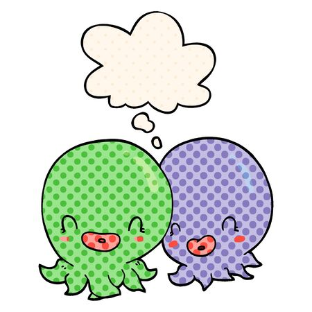 two cartoon octopi  with thought bubble in comic book style