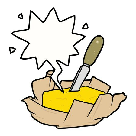 cartoon traditional pat of butter with knife with speech bubble