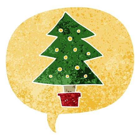 cartoon christmas tree with speech bubble in grunge distressed retro textured style