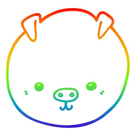 rainbow gradient line drawing of a cartoon pig