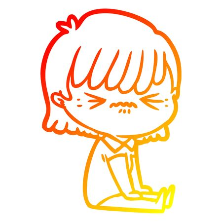 warm gradient line drawing of a annoyed cartoon girl sitting
