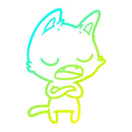 Dibujo de la línea de gradiente en frío de un gato que habla con los brazos cruzados