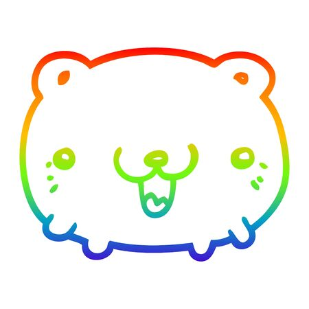 rainbow gradient line drawing of a funny cartoon bear