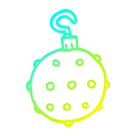 cold gradient line drawing of a cartoon golden xmas bauble