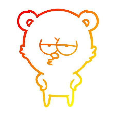 warm gradient line drawing of a bored bear cartoon Ilustração