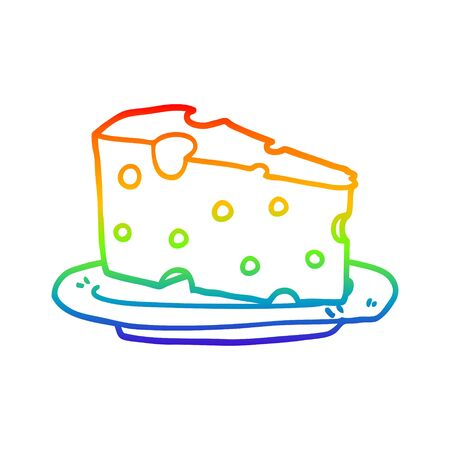 rainbow gradient line drawing of a cartoon cheese on plate Foto de archivo - 129411551