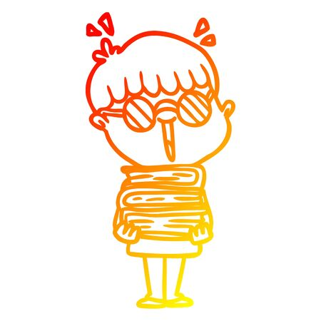 warm gradient line drawing of a cartoon boy with amazing books