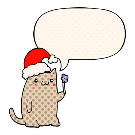 cute cartoon christmas cat with speech bubble in comic book style 일러스트