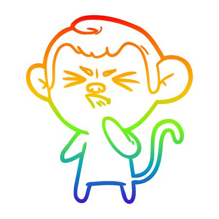rainbow gradient line drawing of a cartoon angry monkey