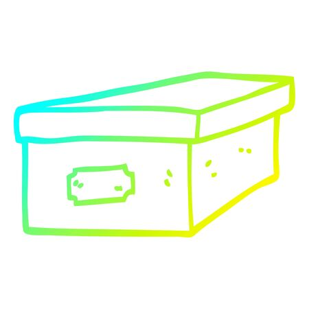 cold gradient line drawing of a cartoon filing box