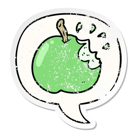 cartoon fresh bitten apple with speech bubble distressed distressed old sticker 일러스트