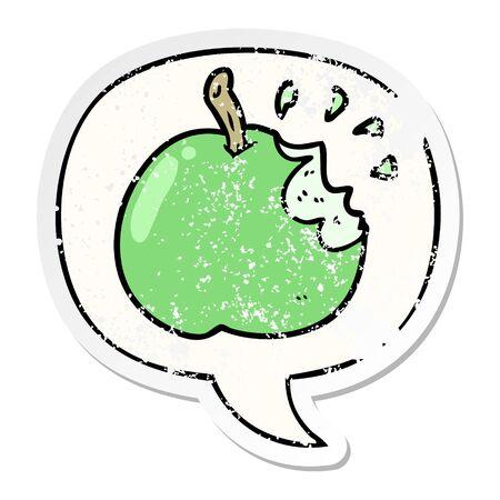 cartoon fresh bitten apple with speech bubble distressed distressed old sticker Illustration