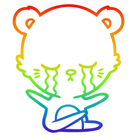 rainbow gradient line drawing of a crying cartoon bear