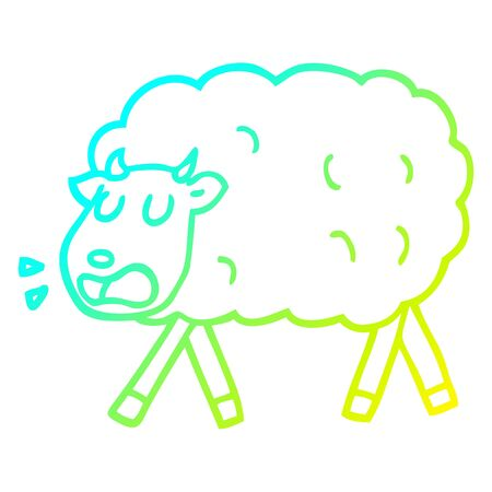 cold gradient line drawing of a cartoon sheep Illustration