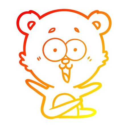warm gradient line drawing of a laughing teddy  bear cartoon