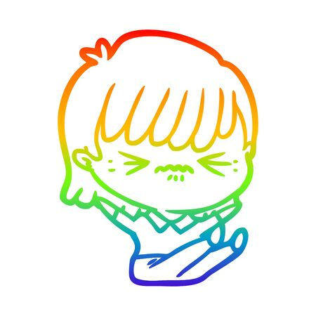 rainbow gradient line drawing of a annoyed cartoon girl falling over