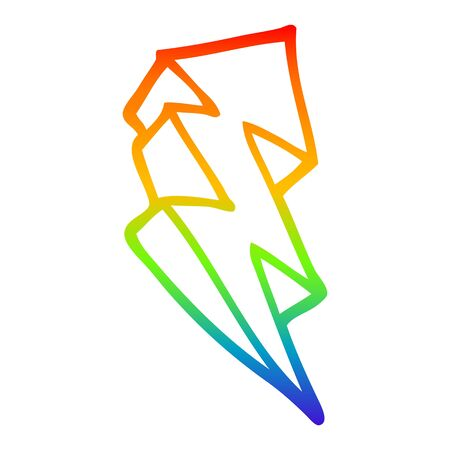 rainbow gradient line drawing of a cartoon lightning bolt symbol