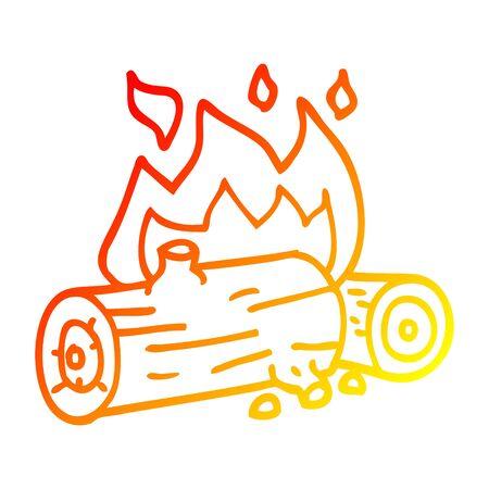 warm gradient line drawing of a cartoon burning logs 向量圖像