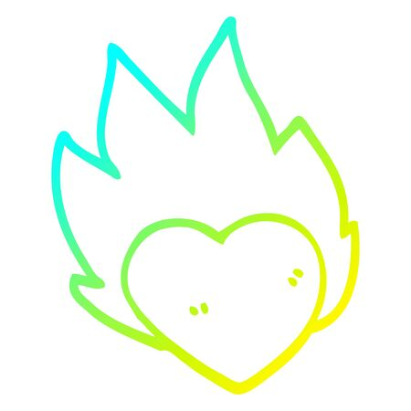 cold gradient line drawing of a cartoon flaming heart Stock fotó - 129411521