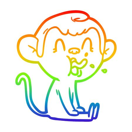 rainbow gradient line drawing of a crazy cartoon monkey sitting
