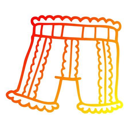 warm gradient line drawing of a cartoon underwear