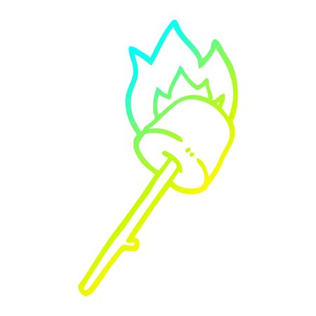 cold gradient line drawing of a cartoon marshmallow on stick